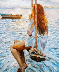 Girl on a Swing decoupage paper